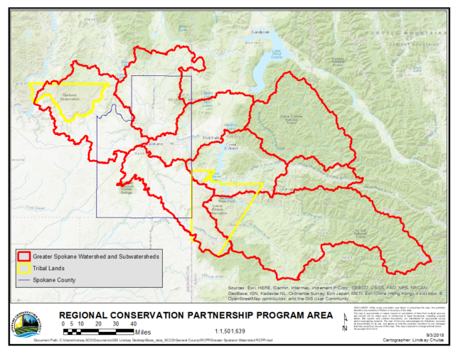 Map of Great Spokane Watershed RCPP Area